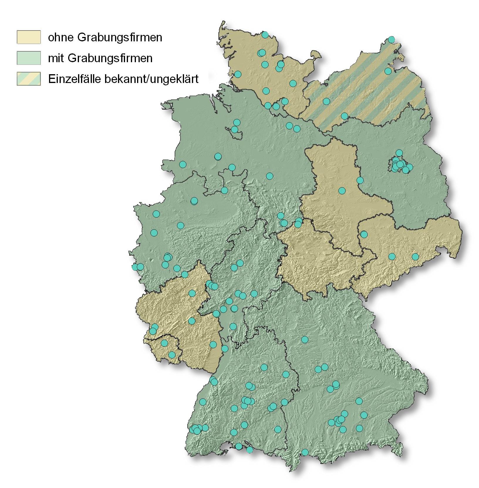 Archäologische Einzelunternhmer in den Bundeländern und Bundesländer, die mit Grabungsunternehmen zusammen arbeiten.