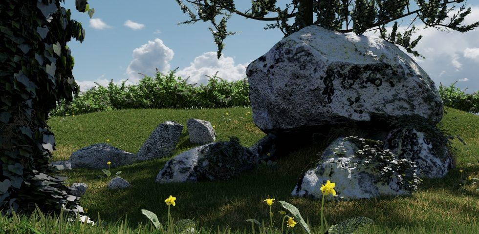 Hünengrab auf einer Wiese